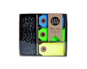 Tag + Twine Box / Black/Silver Cool Neon Tag