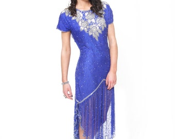 Monika, Stunning French Vintage, Electric Blue Sequin and Bead Encrusted Evening Scalloped Hem Dress, from Paris