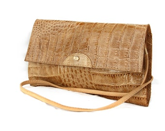 Minella, Vintage, 1970s Taupe Crocodile Satchel Clutch Handbag from Paris