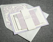 Modern Wedding Invitations, Spring Wedding, Lavender Invitations, Purple, Silver, Grey, Dramatic Script - Flat Panel, 1 Layer, v3 - SAMPLE