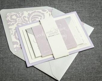 "Lilac Wedding Invitations, Spring Wedding Invitation, Lavender and Silver Invites, Elegant Custom Invitation - ""Dramatic Script"" FP-1L-v3"