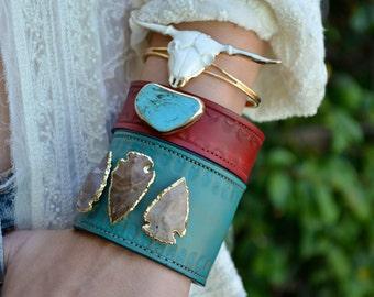 GYPSY LONGHORN /// Handcarved Bull Bracelet /// Electroformed Gold or Silver /// White or Black