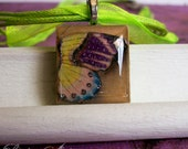 25% OFF clearance (originally 10.50)Scrabble Pendant - Hand Painted - With Organza Ribbon - Butterfly wing- One of A Kind, OOAK, Unique