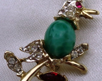 vintage Costume Jewelry chicken rooster faux gem pin brooch green red rhinestone silver