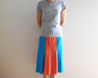 TShirt Skirt Womens Skirt T-Shirt Clothing Orange Turquoise Skirt Flare Knee Length Skirt Handmade Skirt Cotton Skirt Summer Skirt