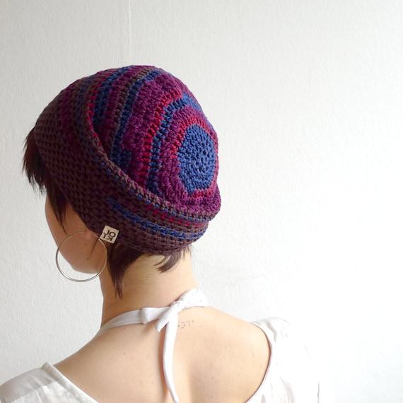 Crochet Beanie, Slouchy Beanie Cap - Brown, Purple, Red, Blue - Bamboo & Cotton Beanie - Summer Hat Brown Beanie Striped Beanie Women Men