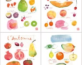 Kitchen art print, Set of 4 posters, Seasonal fruits, 8X10 Food artwork, Colorful wall art, Watercolor painting, Home decor, Kitchen print