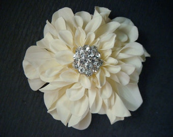 Ivory dahlia ivory peony with rhinestones / bridal ivory flower clip or flower brooch / rhinestone ivory wedding flower