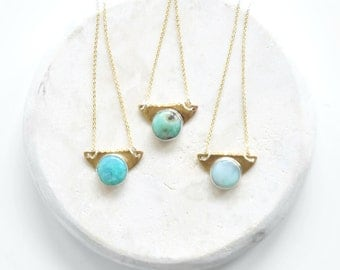 SET Turquoise + Brass Necklace
