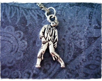 Silver Zombie Necklace - Silver Pewter Zombie Charm on a Delicate Silver Plated Cable Chain or Charm Only