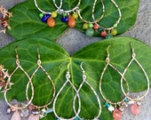 GOLD CHANDELIER MULTI color earrings, sterling silver, tourmaline, clear crystal, pearls, green jade, aqua., quartz
