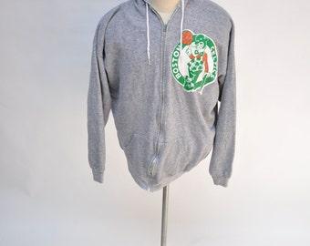vintage hoodie BOSTON CELTICS larry bird hooded sweatshirt 1980s extra large XL