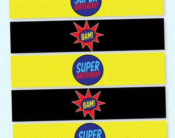 Superhero Party PRINTABLE Water Bottle Label from Love The Day