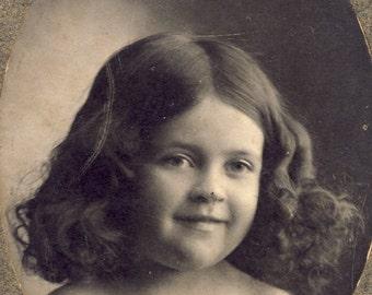 Cute Little Girl with a Full Head of CURLY LOCKS in Her HAIR Photo Milbank South Dakota Circa 1910s