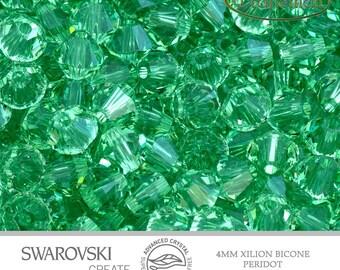 12 Swarovski 4mm Bicone - Peridot 5328 214 Advance Crystal Xilion Bicone