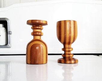 Mid Century Wood Lathe Candlestick Holders / Striped Wood