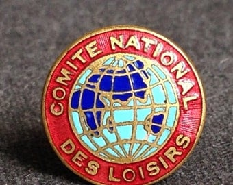 Vintage French National Recreation Committee enamel pin.
