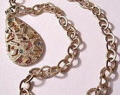 Teardrop Crystal Pendant Necklace Gold Tone Vintage Textured Chain Links Round Color Stones