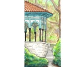 Eden Park Gazebo Watercolor Print, Cincinnati, Ohio