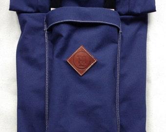 Navy/ Khaki Zipper Roll-Top Backpack