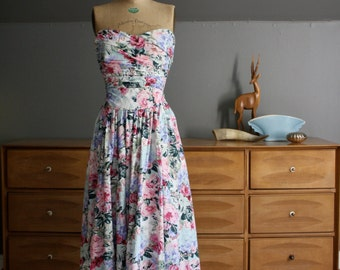 1980's Strapless Floral Print Cotton Dress Size Small