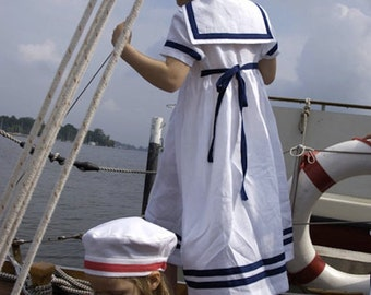 DRESS SOMMERFRISCHE, White Children's Sailor Dress With Navy Blue Stripes, Short-Sleeved, Button Front Closure,Maritime Festive Summer Dress