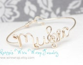 """Music Bangle With A Treble Clef for the """"S"""" - Sterling Silver, Yellow Gold Filled or Copper Available"""