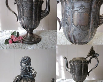 Antique Silverplated Teapot or Urn. Grapes Vines & Leaves - Ornate collectible item. Circa early 1900's