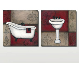 CLEARANCE Red Bath Prints - Bathtub, Sink, or Both - Only 50 Signed Available