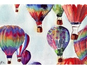 Watercolor Painting - Hot Air Balloons Watercolor Illustration - 11x14 Limited Edition Art Print