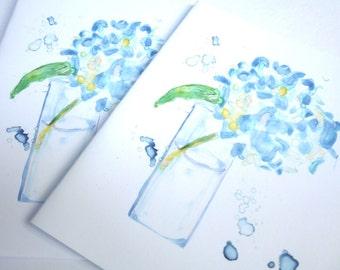 Blue Hydrangea Notecards, Flower Watercolor Art Cards, Set of 8