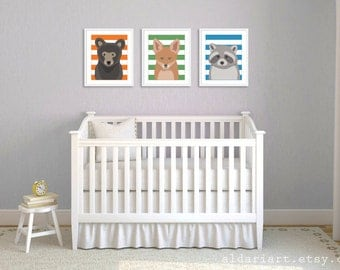 Woodland Animals Nursery Wall Art - Bear Fox and Raccoon Art Prints - Baby Boy Nursery - Forest Animals Wall Art - Orange Green Blue Stripes
