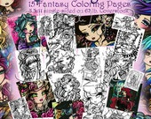 Vol 7 Adult All Ages Fantasy Coloring Pages Book Pack Volume Mermaid Fairy Art by Hannah Lynn