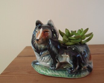 vintage Collie dog planter / mama & baby pup glazed ceramic planter