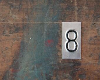 vintage industrial number 8 / metal letters / letter art