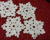 Four Crochet Snowflake Coaster / Snowflake Doily / Snowflake Ornament