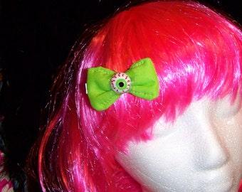 Green Bloodshot Eyeball - Hair bow - Clip - Little