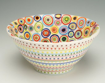 Serving Bowl, Ceramic Small Mix Bowl, Circles Design, As Seen In HGTV Magazine, Stripes and Dots, Colorful Pottery Small Fruit, Mix Bowl