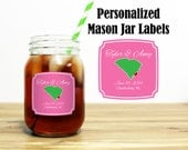 Custom Mason Jar Labels Wedding Favors Stickers Thank You Rehearsal Dinner Reception Outdoor Location Home State Wedding Party Gifts MJ-1003