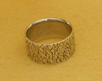 Sterling Silver Ring Vintage Handmade Wide Band - 6.5  (VR-101)