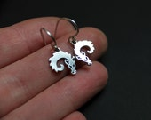 Silver Dragon Earrings - Curled-up Baby Dragons  - Dragon jewelry