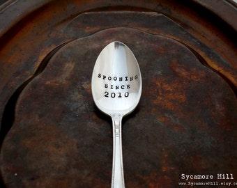 Spooning Since  - Coffee Lovers Anniversary Wedding Honeymoon Gift -  Personalized CUSTOM The Original Hand Stamped Vintage Coffee Spoons