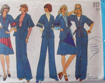 Women's Vintage Sewing Pattern - Unlined Wrap Jacket, Pieced Skirt and Fly Front Pants - Simplicity 7271 - Size 14, Bust 36
