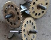 Vintage clock brass winding parts -- keys - gears -- set of 3 -- D10