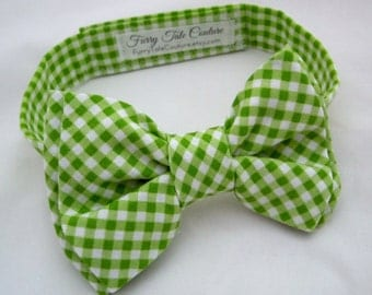 Spring Green Gingham Bow Tie for Dog or Cat - Any Size