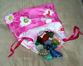 Sacred Crystal Tarot Pouch - Pretty Pink Flower Patchwork Gemstone Drawstring Pouch