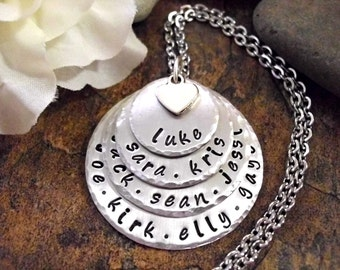 SUPER SALE Grandma Jewelry, Mommy Jewelry, Personalized Jewelry, Hand Stamped Jewelry, up to 4 to 12 Name Words