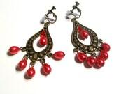 Chandelier Earrings, Bronze Pearl Tear Drop Earrings, 2.5 Inch Earrings, Available Colors, Select Ear Wires