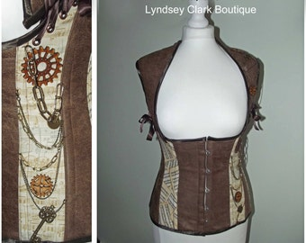 Steampunk faux leather, music print under bust waistcoat asylum corset made to measure
