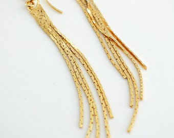 Gold Earrings - Long Earrings - Fringe Earrings - Chain Earrings - Tassel Earrings - handmade jewelry